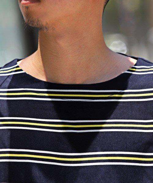 LUXSTYLE(ラグスタイル)/ボーダー柄ボートネック半袖Tシャツ/Tシャツ メンズ 半袖 5分袖 ボートネック ボーダー/pm-8610_img09