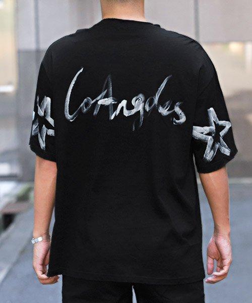 LUXSTYLE(ラグスタイル)/手書き風スター&ロゴプリントビッグ半袖Tシャツ/Tシャツ メンズ 半袖 手書き風 プリント ビッグシルエット/pm-8611_img01