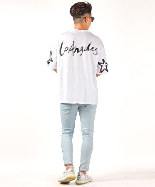 LUXSTYLE(ラグスタイル)/手書き風スター&ロゴプリントビッグ半袖Tシャツ/Tシャツ メンズ 半袖 手書き風 プリント ビッグシルエット/pm-8611_img04