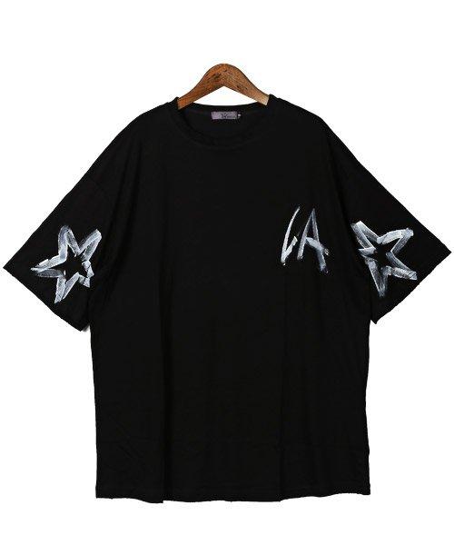 LUXSTYLE(ラグスタイル)/手書き風スター&ロゴプリントビッグ半袖Tシャツ/Tシャツ メンズ 半袖 手書き風 プリント ビッグシルエット/pm-8611_img05