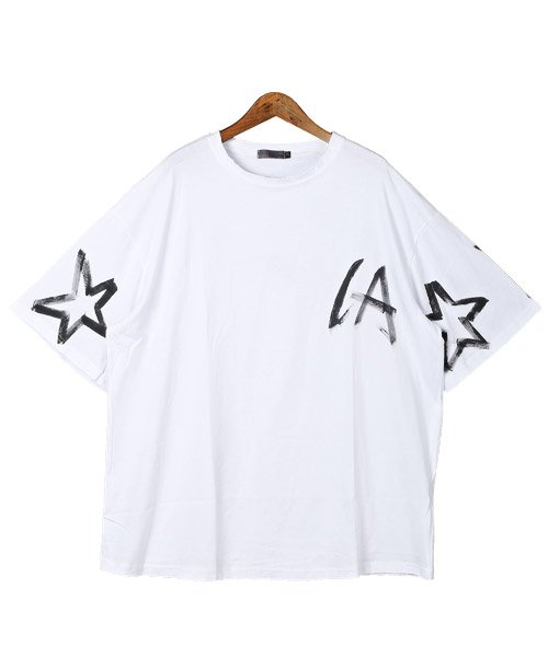 LUXSTYLE(ラグスタイル)/手書き風スター&ロゴプリントビッグ半袖Tシャツ/Tシャツ メンズ 半袖 手書き風 プリント ビッグシルエット/pm-8611_img06