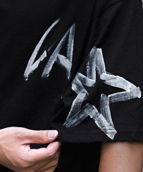 LUXSTYLE(ラグスタイル)/手書き風スター&ロゴプリントビッグ半袖Tシャツ/Tシャツ メンズ 半袖 手書き風 プリント ビッグシルエット/pm-8611_img07