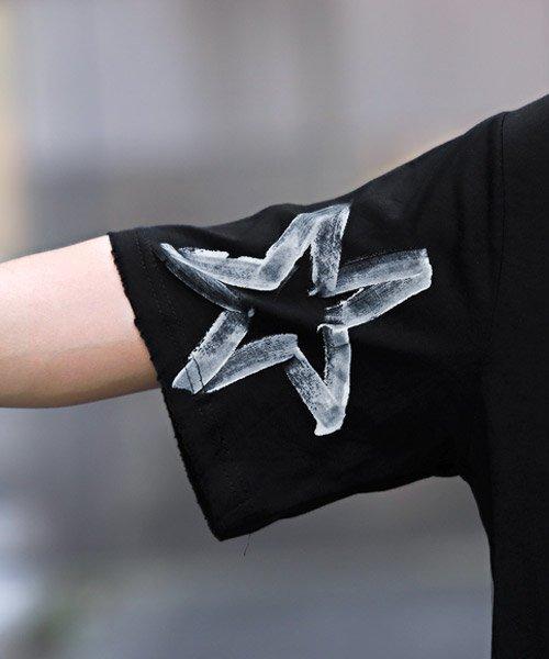 LUXSTYLE(ラグスタイル)/手書き風スター&ロゴプリントビッグ半袖Tシャツ/Tシャツ メンズ 半袖 手書き風 プリント ビッグシルエット/pm-8611_img08
