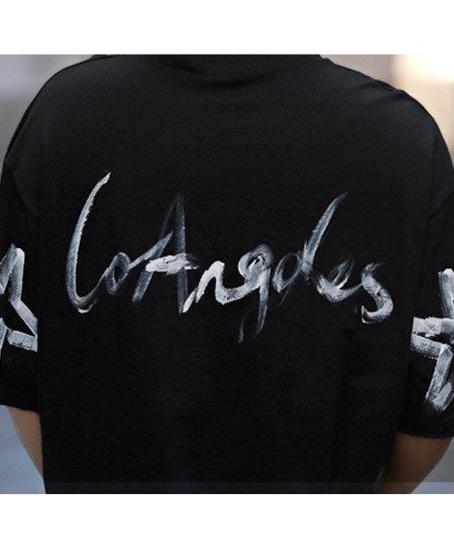 LUXSTYLE(ラグスタイル)/手書き風スター&ロゴプリントビッグ半袖Tシャツ/Tシャツ メンズ 半袖 手書き風 プリント ビッグシルエット/pm-8611_img09