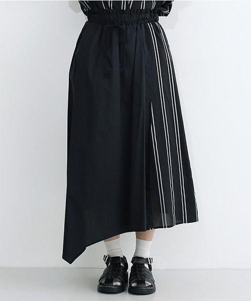 merlot(メルロー)/ストライプ柄配色ラップスカート/00010012-879230008468_img01