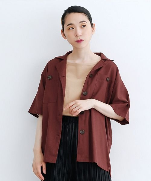 merlot(メルロー)/コットンリネンビックポケット開衿シャツ/00010012-879610018547_img17
