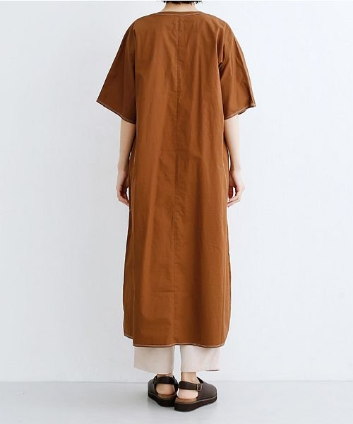 merlot(メルロー)/【IKYU】配色ステッチノーカラーシャツワンピース/00010012-939220143107_img02