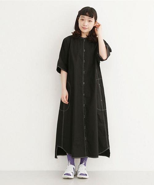 merlot(メルロー)/【IKYU】配色ステッチノーカラーシャツワンピース/00010012-939220143107_img13