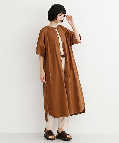 merlot(メルロー)/【IKYU】配色ステッチノーカラーシャツワンピース/00010012-939220143107_img16
