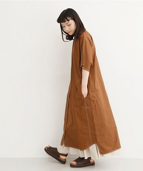 merlot(メルロー)/【IKYU】配色ステッチノーカラーシャツワンピース/00010012-939220143107_img17