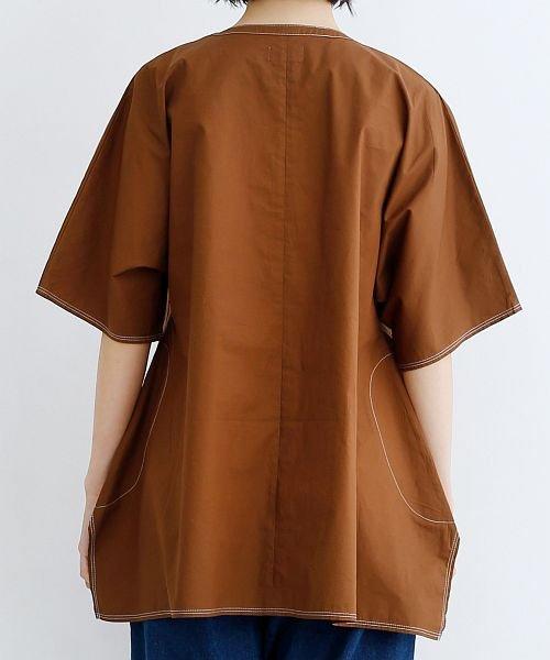 merlot(メルロー)/【IKYU】配色ステッチノーカラ―シャツ/00010012-939220143186_img02