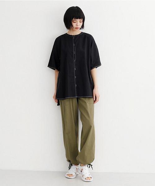 merlot(メルロー)/【IKYU】配色ステッチノーカラ―シャツ/00010012-939220143186_img11