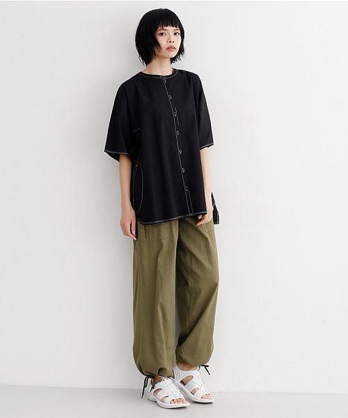 merlot(メルロー)/【IKYU】配色ステッチノーカラ―シャツ/00010012-939220143186_img12