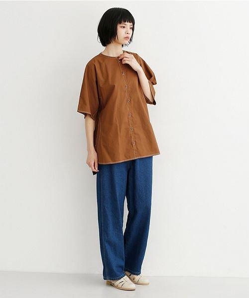 merlot(メルロー)/【IKYU】配色ステッチノーカラ―シャツ/00010012-939220143186_img16