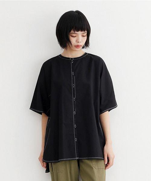 merlot(メルロー)/【IKYU】配色ステッチノーカラ―シャツ/00010012-939220143186_img18