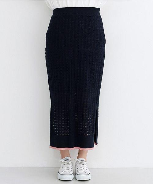 merlot(メルロー)/配色ライン透かし編みニットスカート/00010012-939230022917_img01