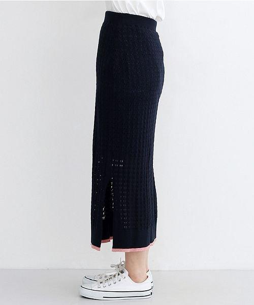 merlot(メルロー)/配色ライン透かし編みニットスカート/00010012-939230022917_img02