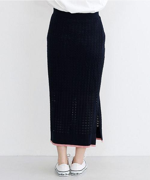 merlot(メルロー)/配色ライン透かし編みニットスカート/00010012-939230022917_img03