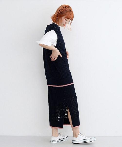 merlot(メルロー)/配色ライン透かし編みニットスカート/00010012-939230022917_img08