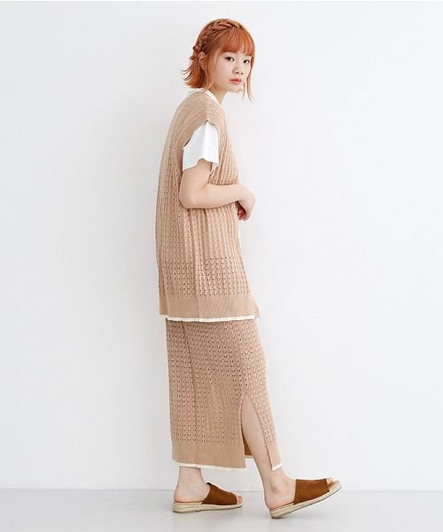 merlot(メルロー)/配色ライン透かし編みニットスカート/00010012-939230022917_img10