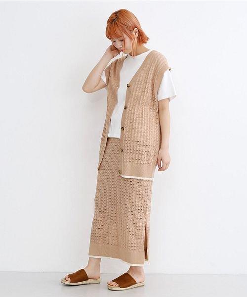 merlot(メルロー)/配色ライン透かし編みニットスカート/00010012-939230022917_img11