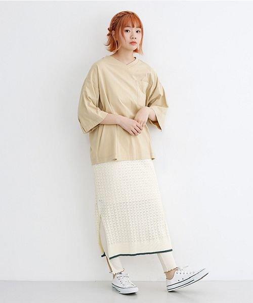 merlot(メルロー)/配色ライン透かし編みニットスカート/00010012-939230022917_img15