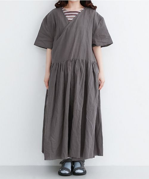 merlot(メルロー)/【IKYU】リネンミックスカシュクールギャザーワンピース/00010012-939230032993_img01