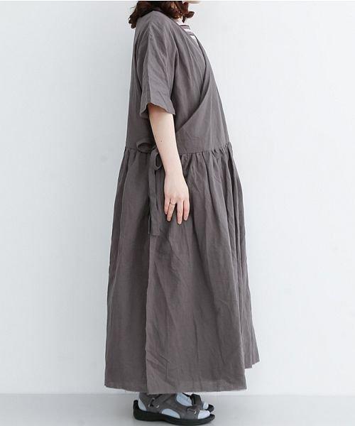 merlot(メルロー)/【IKYU】リネンミックスカシュクールギャザーワンピース/00010012-939230032993_img02
