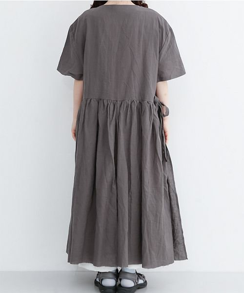 merlot(メルロー)/【IKYU】リネンミックスカシュクールギャザーワンピース/00010012-939230032993_img03