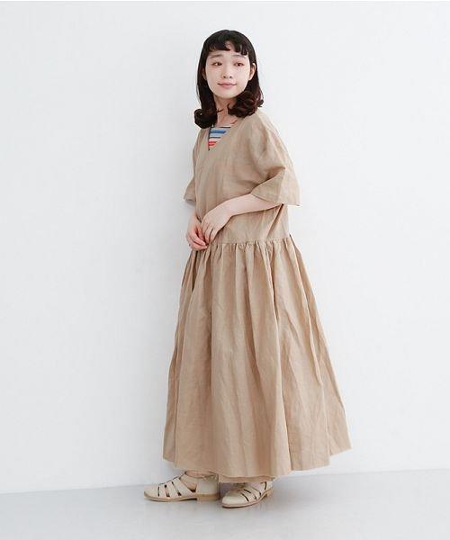 merlot(メルロー)/【IKYU】リネンミックスカシュクールギャザーワンピース/00010012-939230032993_img14