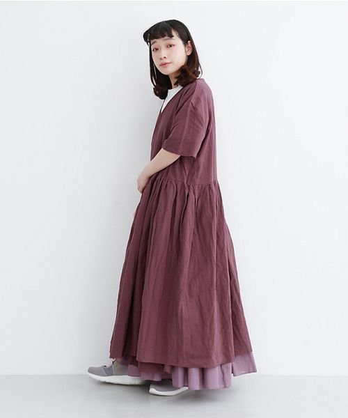 merlot(メルロー)/【IKYU】リネンミックスカシュクールギャザーワンピース/00010012-939230032993_img17