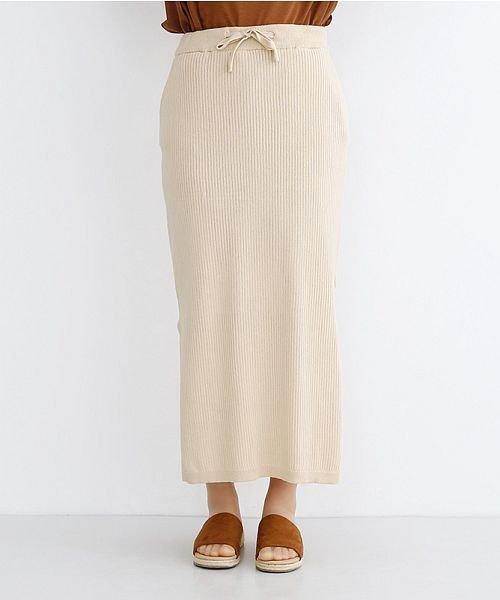 merlot(メルロー)/サイドスリットリブコットンニットスカート/00010012-939230122955_img01