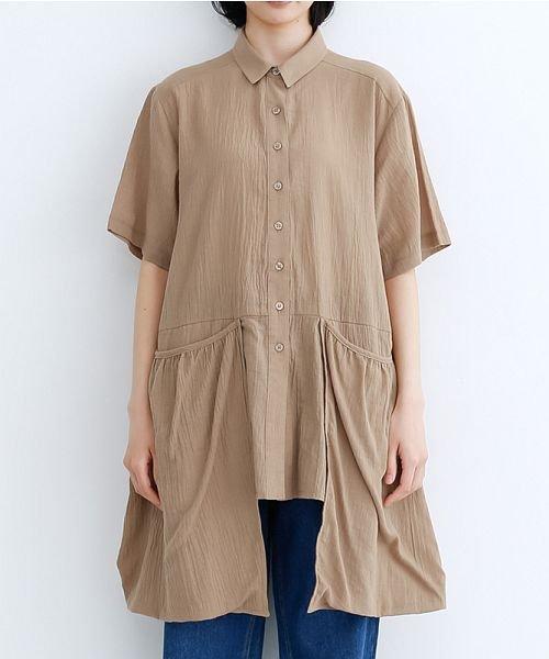merlot(メルロー)/【IKYU】バックベンツギャザーポケットシャツ/00010012-939230143100_img01