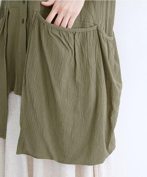 merlot(メルロー)/【IKYU】バックベンツギャザーポケットシャツ/00010012-939230143100_img07