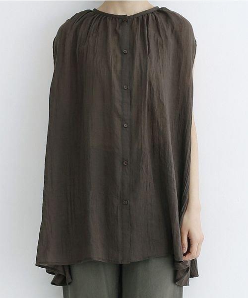 merlot(メルロー)/【IKYU】ギャザーノースリシャツ/00010012-939270063185_img01