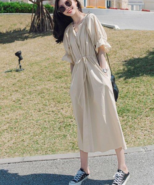 felt maglietta(フェルトマリエッタ)/一枚でお洒落シルエットが綺麗なギャザーワンピース/ワンピース/韓国ファッション/春/夏/am227_img09