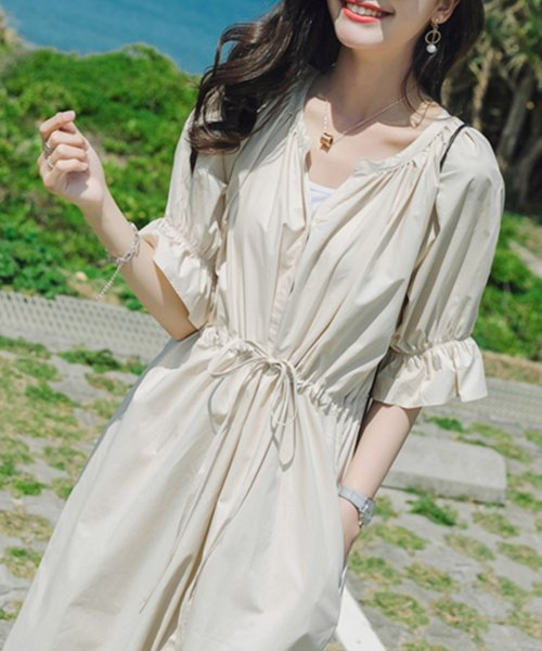felt maglietta(フェルトマリエッタ)/一枚でお洒落シルエットが綺麗なギャザーワンピース/ワンピース/韓国ファッション/春/夏/am227_img10