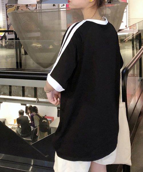 felt maglietta(フェルトマリエッタ)/大人気のラインBIGシルエットTシャツ◎胸部分の刺繍がポイント♪ライン刺繍Tシャツ/トップス/Tシャツ/ライン/韓国ファッション/BIGシルエット/オーバーサイ/am229_img02