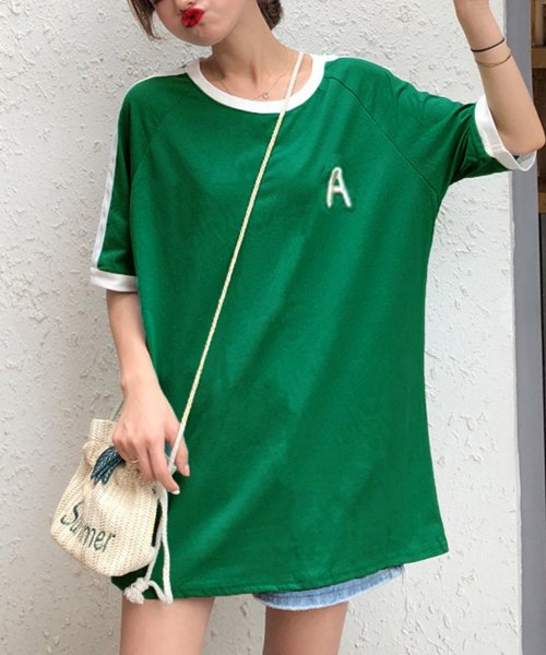 felt maglietta(フェルトマリエッタ)/大人気のラインBIGシルエットTシャツ◎胸部分の刺繍がポイント♪ライン刺繍Tシャツ/トップス/Tシャツ/ライン/韓国ファッション/BIGシルエット/オーバーサイ/am229_img03