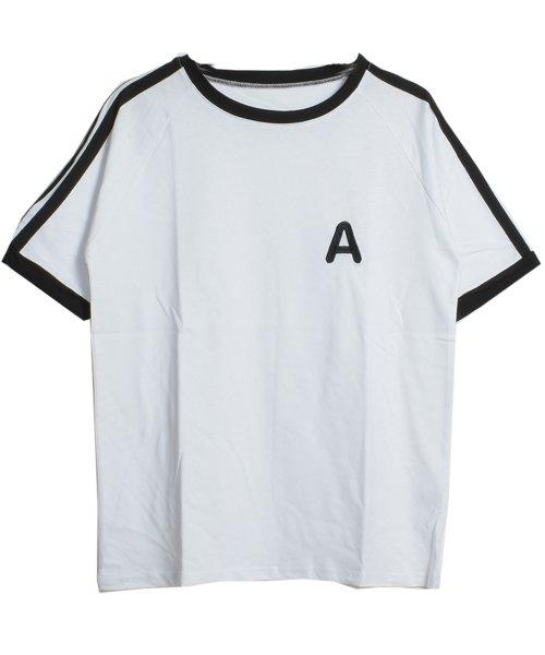 felt maglietta(フェルトマリエッタ)/大人気のラインBIGシルエットTシャツ◎胸部分の刺繍がポイント♪ライン刺繍Tシャツ/トップス/Tシャツ/ライン/韓国ファッション/BIGシルエット/オーバーサイ/am229_img11