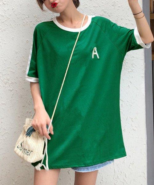 felt maglietta(フェルトマリエッタ)/大人気のラインBIGシルエットTシャツ◎胸部分の刺繍がポイント♪ライン刺繍Tシャツ/トップス/Tシャツ/ライン/韓国ファッション/BIGシルエット/オーバーサイ/am229_img12