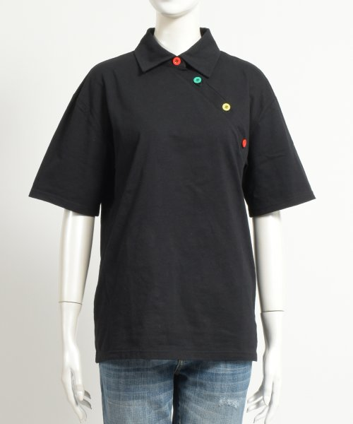 felt maglietta(フェルトマリエッタ)/アシメに付いたカラフルボタンが可愛い◎一枚でお洒落に着れるポロシャツ♪/トップス/カットソー/夏/ポロシャツ/韓国ファッションシャツ Tシャツ/am233_img01