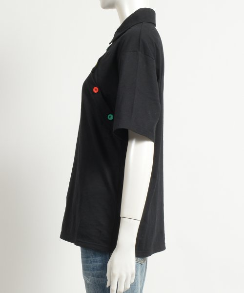felt maglietta(フェルトマリエッタ)/アシメに付いたカラフルボタンが可愛い◎一枚でお洒落に着れるポロシャツ♪/トップス/カットソー/夏/ポロシャツ/韓国ファッションシャツ Tシャツ/am233_img02