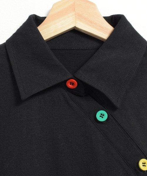 felt maglietta(フェルトマリエッタ)/アシメに付いたカラフルボタンが可愛い◎一枚でお洒落に着れるポロシャツ♪/トップス/カットソー/夏/ポロシャツ/韓国ファッションシャツ Tシャツ/am233_img04