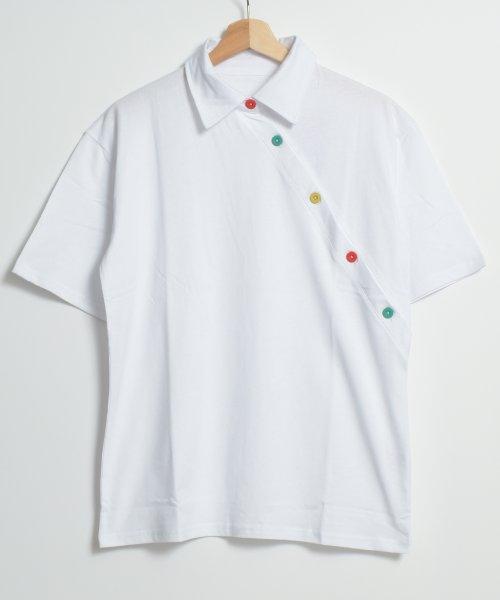 felt maglietta(フェルトマリエッタ)/アシメに付いたカラフルボタンが可愛い◎一枚でお洒落に着れるポロシャツ♪/トップス/カットソー/夏/ポロシャツ/韓国ファッションシャツ Tシャツ/am233_img07