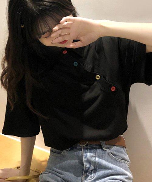 felt maglietta(フェルトマリエッタ)/アシメに付いたカラフルボタンが可愛い◎一枚でお洒落に着れるポロシャツ♪/トップス/カットソー/夏/ポロシャツ/韓国ファッションシャツ Tシャツ/am233_img09