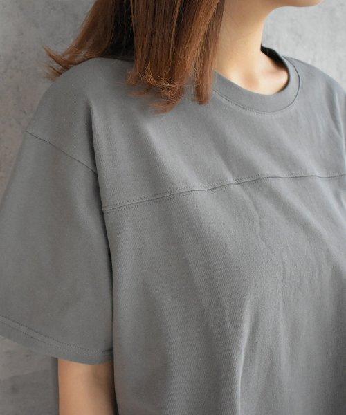 felt maglietta(フェルトマリエッタ)/フロントとバックの切り替えデザインでカジュアルなスタイリングに取り入れたトップス !!フットボール  Tシャツ/am235_img03