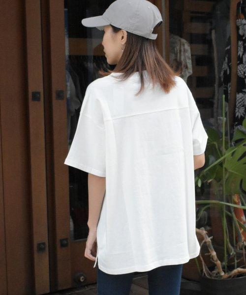 felt maglietta(フェルトマリエッタ)/フロントとバックの切り替えデザインでカジュアルなスタイリングに取り入れたトップス !!フットボール  Tシャツ/am235_img07