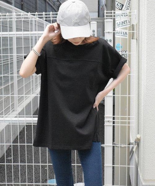 felt maglietta(フェルトマリエッタ)/フロントとバックの切り替えデザインでカジュアルなスタイリングに取り入れたトップス !!フットボール  Tシャツ/am235_img10