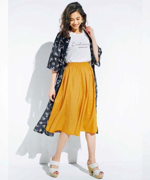GeeRa(ジーラ)/麻調合繊鮮やかフレアースカート       /204637_img01